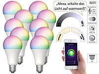Luminea Home Control 10er-Set WLAN-LED-Lampen für Amazon Alexa/Google Assistant, E27,12 W; WLAN-LED-Lampen E27 weiß, WLAN-Steckdosen mit Stromkosten-Messfunktion WLAN-LED-Lampen E27 weiß, WLAN-Steckdosen mit Stromkosten-Messfunktion WLAN-LED-Lampen E27 weiß, WLAN-Steckdosen mit Stromkosten-Messfunktion