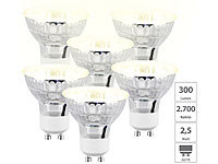Luminea 6er-Set LED-Spotlights im Glasgehäuse, warmweiß, 300 Lumen, GU10, A++