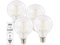 Luminea 4er Pack LED-Filament-Birne, E27, A++, 6 W, 806 lm, 360°; LED-Tropfen E27 (warmweiß) LED-Tropfen E27 (warmweiß) LED-Tropfen E27 (warmweiß)