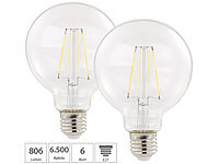 Luminea 2er Pack LED-Filament-Birne, E27, A++, 6 W, 806 lm, 360°; LED-Tropfen E27 (warmweiß) LED-Tropfen E27 (warmweiß) LED-Tropfen E27 (warmweiß)