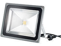Luminea Wetterfester LED-Fluter, 50W, IP65, warmweiß (refurbished); LED-Fluter mit Bewegungsmelder (tageslichtweiß), Wetterfester LED-Fluter (tageslichtweiß)