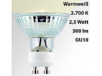 Luminea LED-Spotlight, Glasgehäuse, GU10, 2,5 Watt, 230 V, 300 lm, warmweiß