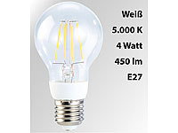 Luminea LED-Filament-Lampe, 4 Watt, E27, 5000 K, 450 Lumen, 360°, weiß
