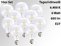 Luminea LED-Filament-Globelampe G95, E27, 6W,600lm,360°,6400K,10er-Set; LED-Tropfen E27 (warmweiß)