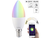 Luminea WLAN-LED-Lampe, kompat. zu Alexa & Google Assistant, E14