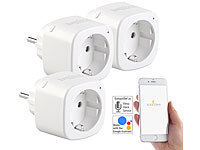 Luminea Home Control 3er-Set WLAN-Steckdosen, Amazon Alexa & Google Assistant komp., 16 A; WLAN-Steckdosen mit Stromkosten-Messfunktion, WLAN-LED-Lampen E27 RGBW WLAN-Steckdosen mit Stromkosten-Messfunktion, WLAN-LED-Lampen E27 RGBW WLAN-Steckdosen mit Stromkosten-Messfunktion, WLAN-LED-Lampen E27 RGBW