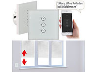 Luminea Home Control 2er-Set Rollladen-Touch-Unterputz-Steuerung, App & Sprachsteuerung; WLAN-Steckdosen mit Stromkosten-Messfunktion WLAN-Steckdosen mit Stromkosten-Messfunktion WLAN-Steckdosen mit Stromkosten-Messfunktion