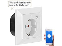 Luminea Home Control WLAN-Unterputz-Steckdose mit App, für Siri, Alexa & Google Assistant; WLAN-Steckdosen mit Stromkosten-Messfunktion WLAN-Steckdosen mit Stromkosten-Messfunktion WLAN-Steckdosen mit Stromkosten-Messfunktion