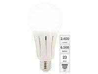 Luminea High-Power-LED-Lampe E27, 24 Watt, 2.452 Lumen, tageslichtweiß 6.500 K; LED-Tropfen E27 (warmweiß) LED-Tropfen E27 (warmweiß) LED-Tropfen E27 (warmweiß) LED-Tropfen E27 (warmweiß)
