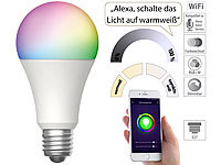 Luminea Home Control WLAN-LED-Lampe für Amazon Alexa & Google Assistant, E27, RGB, CCT, 9 W; WLAN-LED-Lampen E27 weiß, WLAN-Steckdosen mit Stromkosten-Messfunktion WLAN-LED-Lampen E27 weiß, WLAN-Steckdosen mit Stromkosten-Messfunktion WLAN-LED-Lampen E27 weiß, WLAN-Steckdosen mit Stromkosten-Messfunktion WLAN-LED-Lampen E27 weiß, WLAN-Steckdosen mit Stromkosten-Messfunktion