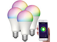 Luminea Home Control 4er-Set WLAN-LED-Lampen, für Amazon Alexa/GA, E27, RGB, CCT, 12 W; WLAN-LED-Lampen E27 weiß, WLAN-Steckdosen mit Stromkosten-Messfunktion WLAN-LED-Lampen E27 weiß, WLAN-Steckdosen mit Stromkosten-Messfunktion WLAN-LED-Lampen E27 weiß, WLAN-Steckdosen mit Stromkosten-Messfunktion WLAN-LED-Lampen E27 weiß, WLAN-Steckdosen mit Stromkosten-Messfunktion