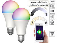 Luminea Home Control 2er-Set WLAN-LED-Lampen, für Amazon Alexa & GA, E27, RGB, CCT, 9 W