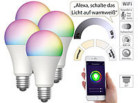Luminea Home Control 4er-Set WLAN-LED-Lampen, für Amazon Alexa & GA, E27, RGB, CCT, 9 W
